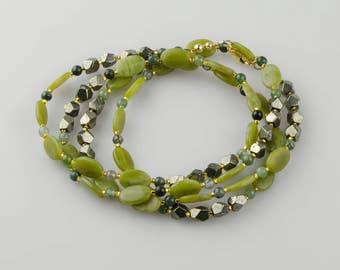 Opera Length Necklace, Long Gemstone Jade Necklace w Pyrite, Boho Wrap Necklace, 14K Gold Fill, Multi Gem Necklace, Wrappable Bracelet