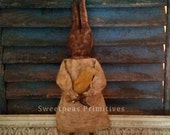Primitive Early Vintage Style Rustic Farmhouse Decor Easter Bunny Rabbit Art Doll with Chick ~ Sweetpeas Primitives