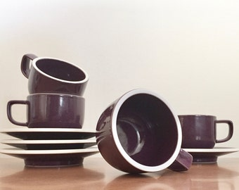 Vintage Vignelli Sasaki Colorstone Cups and Saucers in Plum -- Set of 4