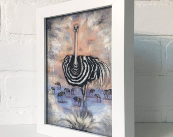 "Enlightened Ostrich 5""x7"" Framed Art Print by Jamie Rice- Desk Art, Wall Decor"