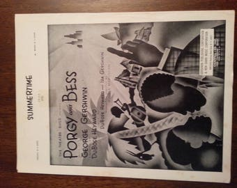 1935 piano music Summertime Porgy and Bess by George Gershwin vintage sheet music
