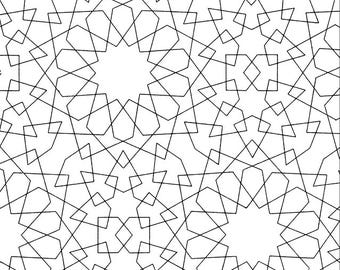 Black And White Moroccan Print Digital Paper - Instant Download
