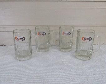 Set of Four Large A & W Glass Mugs