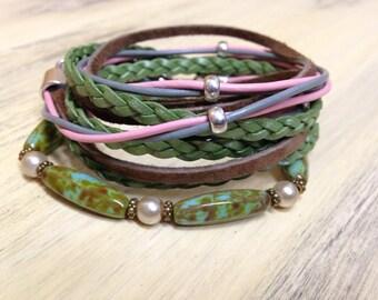 Boho Leather Wrap Bracelet Stacking Bracelets Leather Cuff Bracelet Beach Style Gift for Her Tribal Bracelets Gift under 75 Birthday Gift