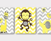 Giraffe Elephant Monkey Canvas Art Yellow Gray Nursery Wall Art Baby Room Decor Baby Nursery Decor Baby Boy Nursery Kids Wall Art set of 3