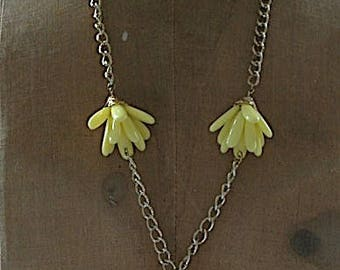 """Vintage Yellow Bead Necklace and Matching Earrings - Demi Parure - """"""""Disco Daisy"""" - SALE"""