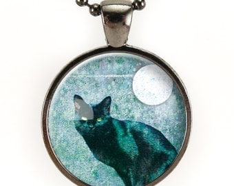Black Cat Necklace, Halloween Cat With Full Moon Pendant, Nu Goth Jewelry (0873G25MMBC)