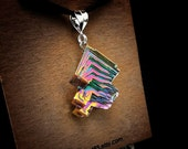 """SALE Bismuth Necklace - """"The Fringes of Fall"""" from a  Bismuth Geode - Jewelry by Element 83 Chemistry Science Gift Iridescent Crystal Neckla"""