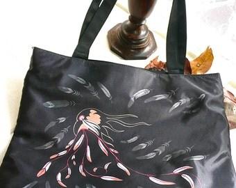 Tote - Carry All Bag - Inuit Design Tote - Native Peoples Designer Bag - Market Tote - Satin Canvas Purse - Travel Tote - Carryall Bag