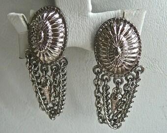 Vintage Earrings - Long Dangly Clipons- Woman's Earrings - Flappers Style Earrings - Indie Jewelry - Silver Hippie Earrings - Goth Wardrobe
