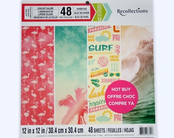 Flamingo Scrapbook Paper with Surfboards, Tropical Beach, Ocean Backgrounds, Summer Vacation Scrapbooking, 12x12 Destash Sunlight Galore