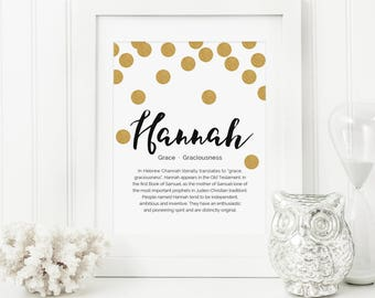 Gold Dots Nursery - Name Meaning Art - Name Meaning Baby - Baby Room Name Art - Personal Baby Gift - Personalized Name Baby Gifts