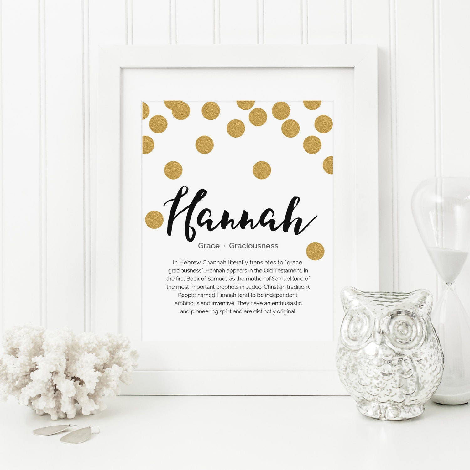 Gold dots nursery name meaning art name meaning baby request a custom order and have something made just for you negle Gallery