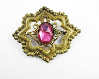 Pressed and Punched Brass Brooch - With a Foil Backed Pink Rhinestone - Brass Pin - Vintage - Detailed