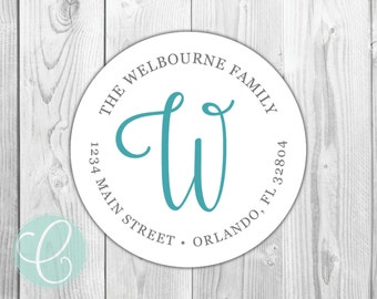 """Family Script Monogram -  Return Address Labels - 2"""" Round Stickers - Glossy or Matte - Teal Cursive Whimsical Preppy Birthday Coordinating"""