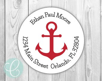 """Anchor -  Return Address Stickers / Labels - 2"""" Round Stickers - Glossy or Matte - Nautical Boat Birthday Party Favor Tags Labels Baby"""