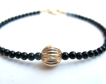 14k solid gold 8mm bead black onyx bracelet gemstone men women jewelry