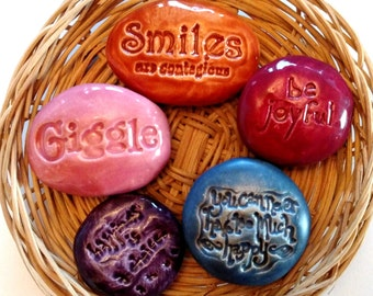 Lot of 5 HAPPINESS Pocket Stones - Inspirational Art Pieces by Inner Art Peace