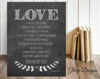 Printable, Love printable, Bible Verse, Scripture printable, Scripture Art, Love is patient print, Chalkboard, 1 Corinthians 13 printable