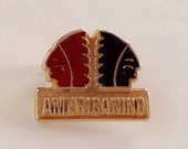 Americanino Jeans Pin. 80s Logo Brand Metal Badge. Vintage Fashion Pin. Indigo Red Enamel Brooch. Native Americans Pin. Italian Fashion.