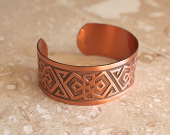 Solid copper cuff bracelet - genuine copper bracelet - 1970s - tribal geometric design bracelet - wide cuff bracelet - Boho jewelry