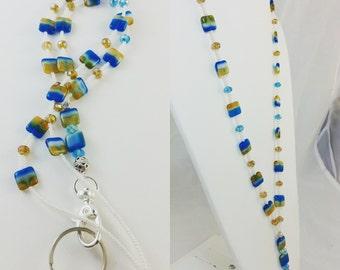 Czech Glass Beads Blue Cream Tan Beaded Lanyard ID holder LQ Expressions