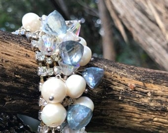 Mermaid sparkle - Vintage rhinestone cuff with blue pyramidal quartz and saltwater pearls
