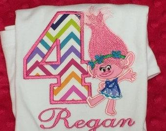 Ari's Angels Personalized Girls trolls Birthday, troll princess Shirt Embroidered, Appliqued, Monogrammed
