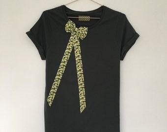 SALE Floral Bow Top Women's Handmade Organic Cotton T-shirt