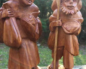 Hand Carved Couple from Columbia Man and Woman Travelling Companions Walking Stick Bearded Man South America Hand Carved Wooden Figures