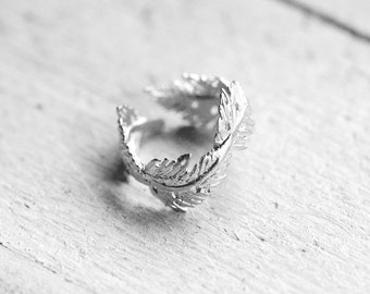 FEATHER ring with spring | silver