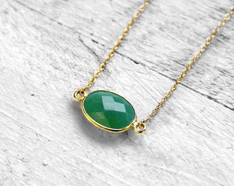 GREEN PURE SURA necklace with green onyx | gold