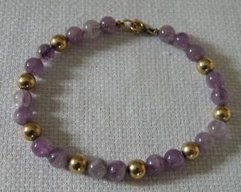 Gold Filled Amethyst Bead Bracelet - 7.25 inch