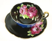 Trimont China Black and Blue Hand Painted Teacup Pink Roses Occupied Japan