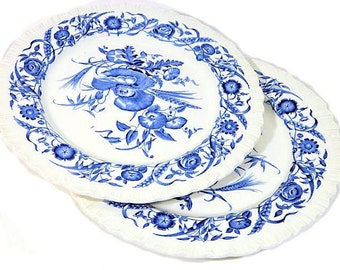 Two Wedgwood Blue and White Cornflower Pattern Dinner Plates