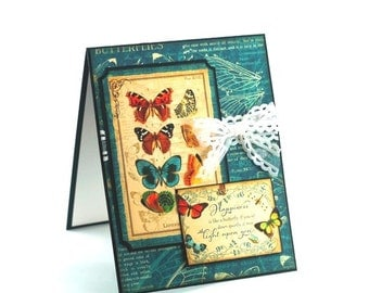 Butterfly specimen note card, butterflies just because, thinking of you blank card, Happiness