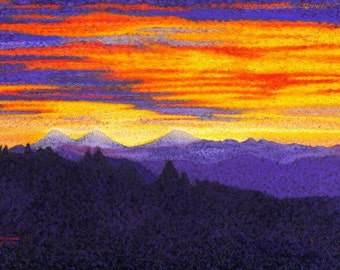 "Fine Art Giclee Print, Three Sisters Mountains, Pastel Painting By Jan Maitland, Sunrise, Mountains and Morning Sky, Landscape, 8""X10"""