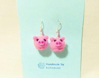 Needle felted pig earrings - pig earrings - felted earrings - needle felt pig - needle felt earrings