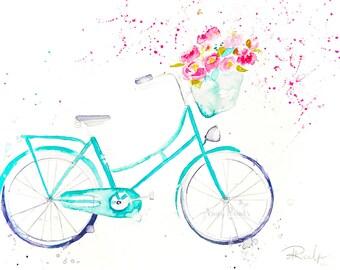 Bike Watercolor Art, Original Artwork, Original Watercolor Painting, Bike Art, Bike Wall Art, Bicycle Art, Bicycle Painting, Peony Painting