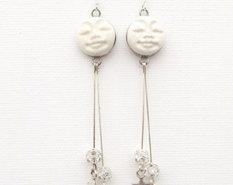 Silver and White Fantasy Man in the Moon Star Dangle Earrings with Swarovski Crystal Beads