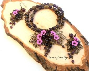 Purple Jewelry Flower Jewelry Handmade Jewelry Purple Flowers Romantic Jewelry Purple Necklace Purple Earrings Gift For Women Unique Jewelry
