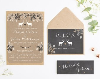 Chalkboard & Kraft Winter Stag Wedding Invitation Bundle