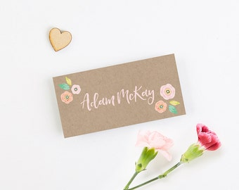 Bright Floral Kraft Folded Place Card