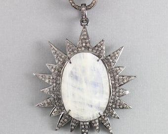 Pave Diamond Pendant, Pave Moonstone Pendant, Diamond Moonstone Charm, Pave Art-Deco, Pave Connector, Oxidized silver. (DCH/PDT/1199/MNS)