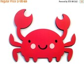 Shop Closing Sale Crab Shaped Card - Red Crab - Ocean Babies - Sea Creatures - Animal Shaped Cards