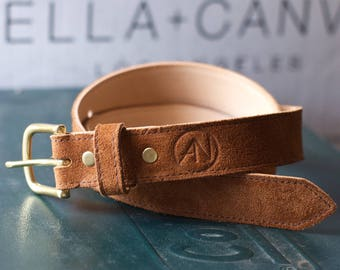 Suede Leather Belt - Solid Brass Buckle - Handcrafted in the U.S.A.