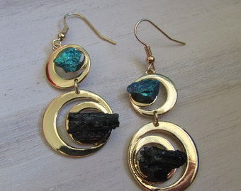Duo Tourmaline and peacock earring