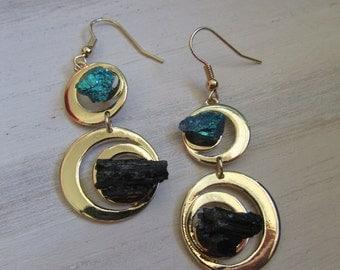 Duo Tourmaline and peacock earring