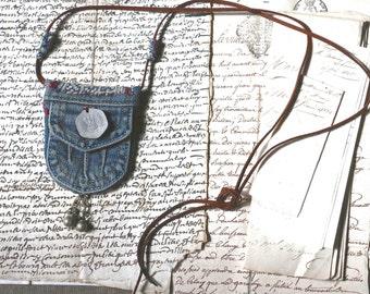 textile pendant necklace : Blue jeans pocket