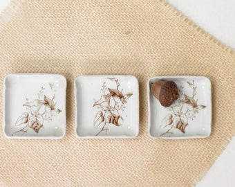 Set of 3 Antique Brown Transferware Butter Pats - Antique Ironstone Butter Pats - Transfer Ware Butter Pats - Old Butter Pats